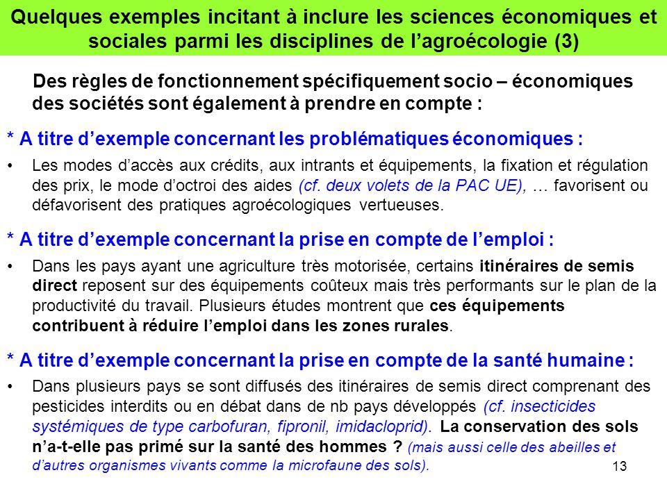Quelques exemples incitant à inclure les sciences économiques et sociales parmi les disciplines de l'agroécologie (3)