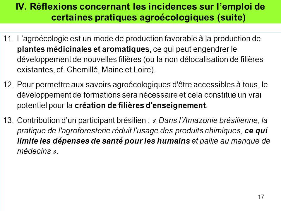 IV. Réflexions concernant les incidences sur l'emploi de certaines pratiques agroécologiques (suite)