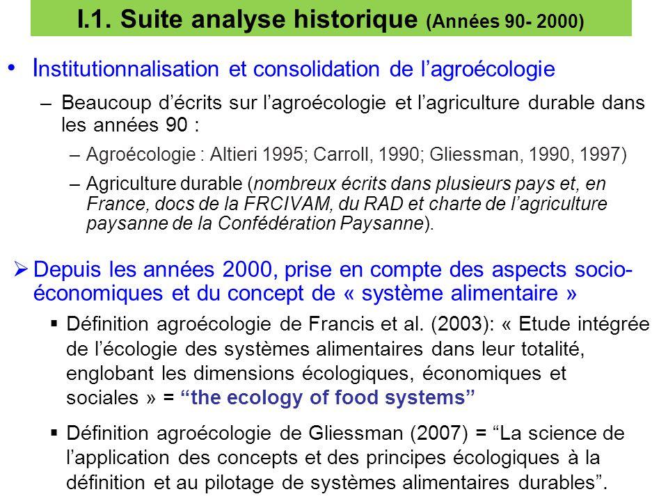 I.1. Suite analyse historique (Années 90- 2000)