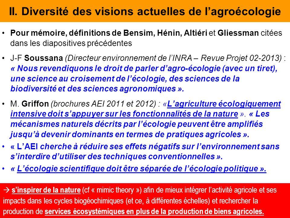 II. Diversité des visions actuelles de l'agroécologie