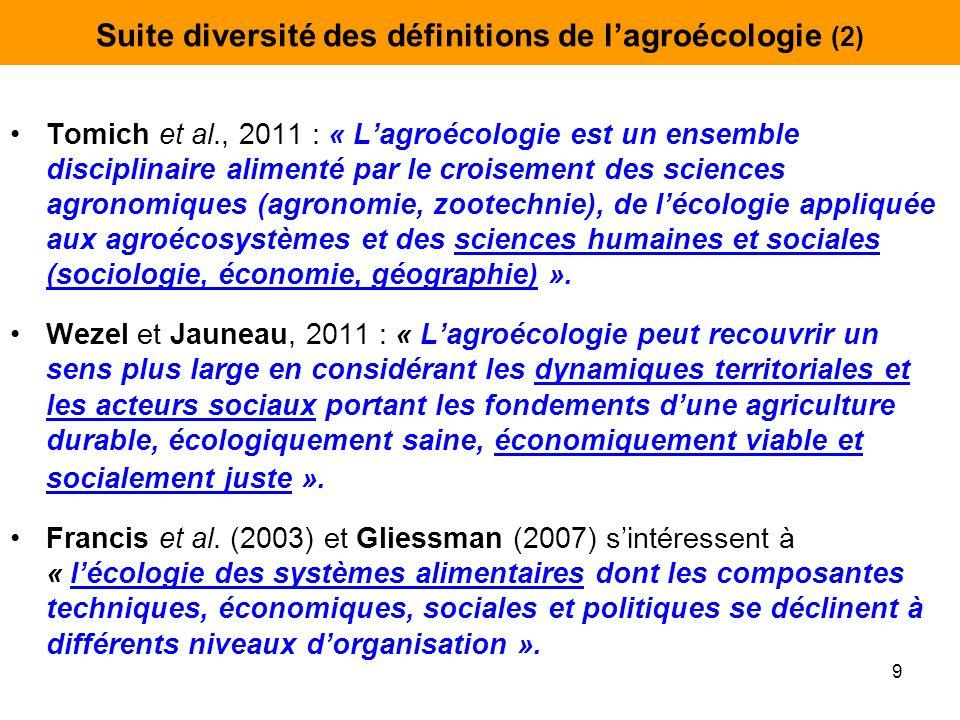 Suite diversité des définitions de l'agroécologie (2)