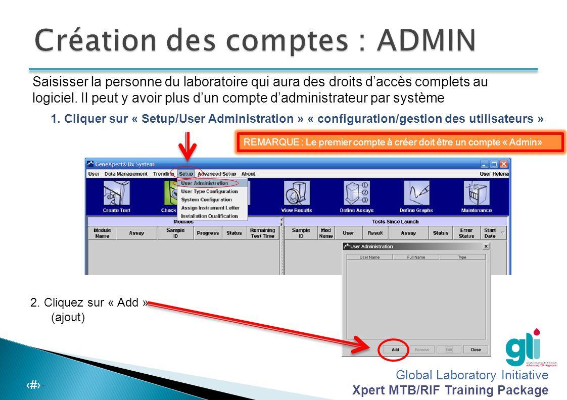 Création des comptes : ADMIN