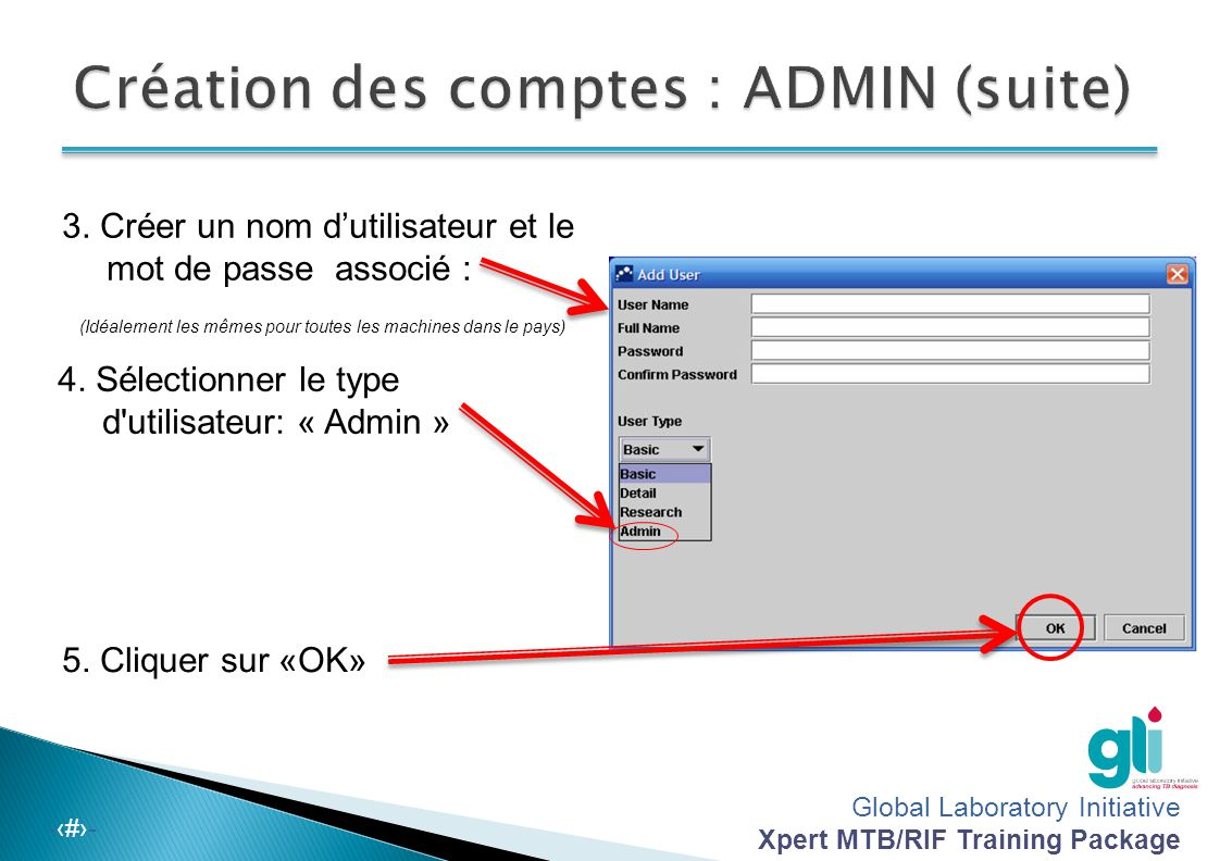 Création des comptes : ADMIN (suite)
