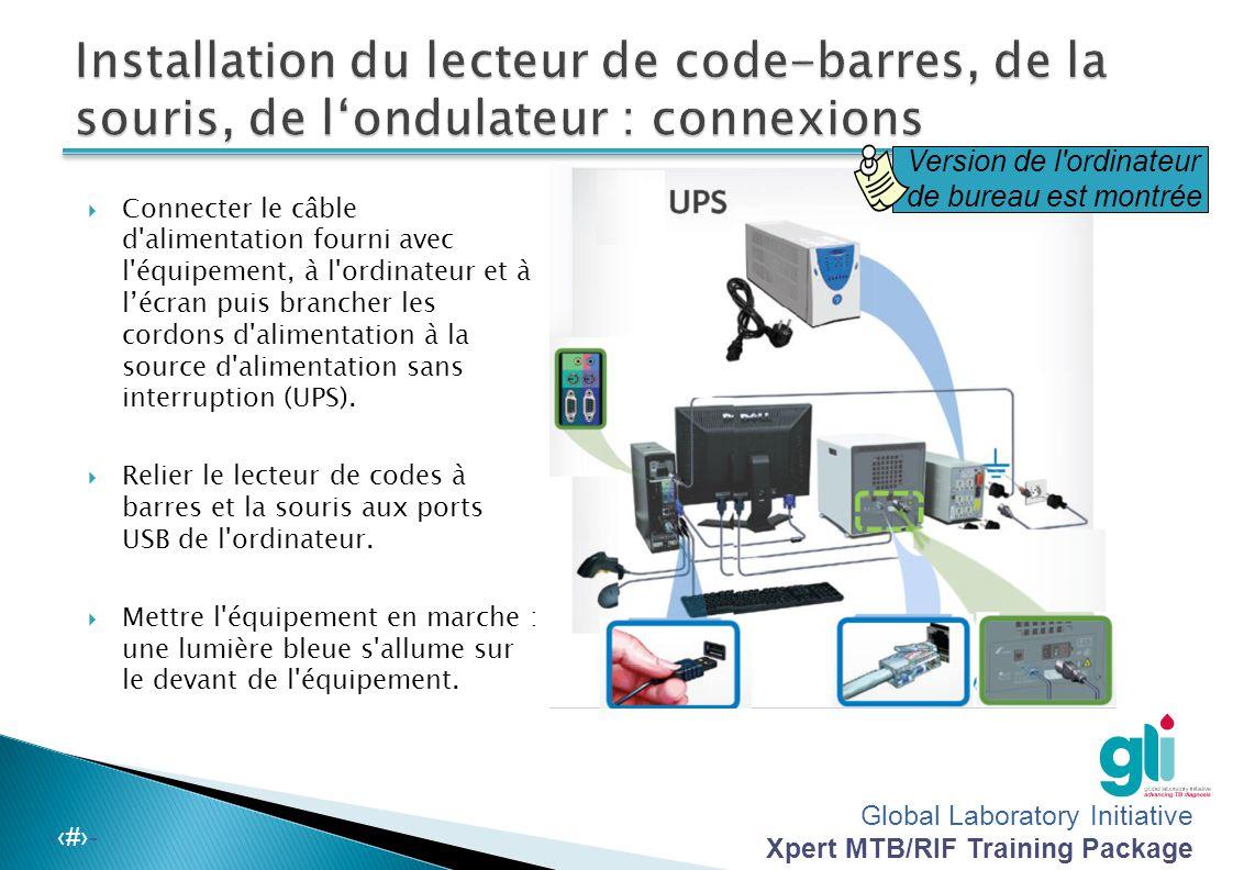 Installation du lecteur de code-barres, de la souris, de l'ondulateur : connexions