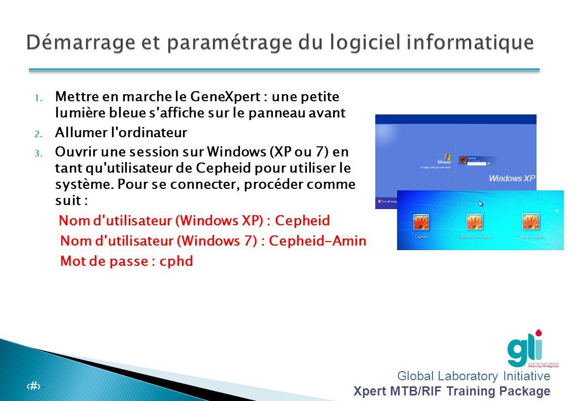 Démarrage et paramétrage du logiciel informatique