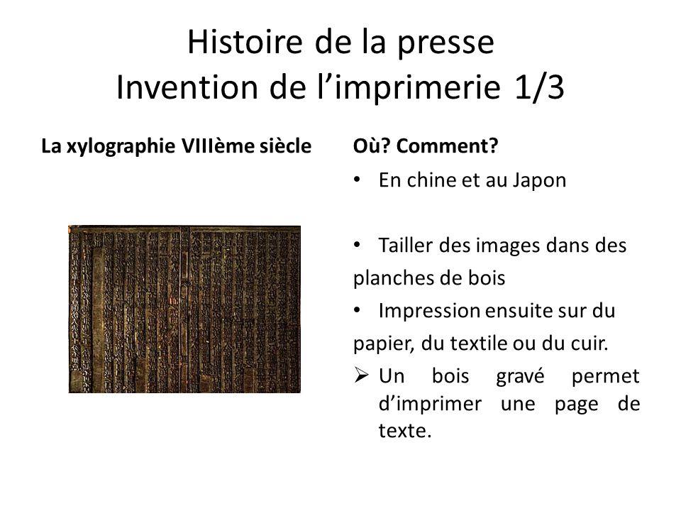 Histoire de la presse Invention de l'imprimerie 1/3