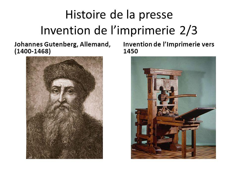Histoire de la presse Invention de l'imprimerie 2/3