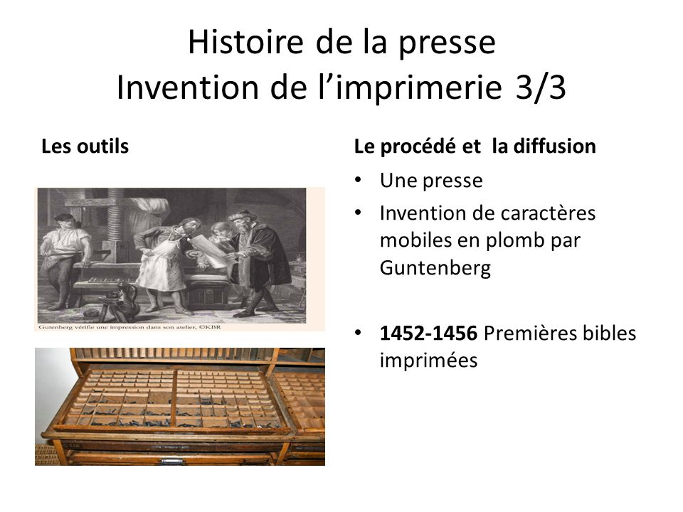 Histoire de la presse Invention de l'imprimerie 3/3