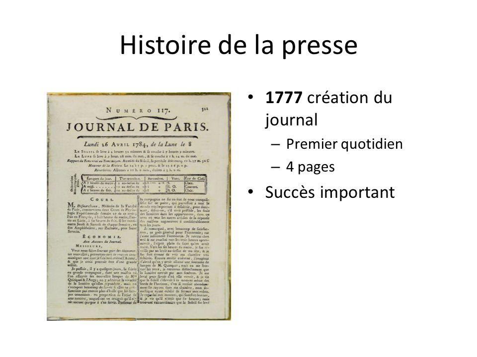 Histoire de la presse 1777 création du journal Succès important