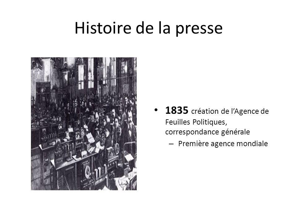 Histoire de la presse 1835 création de l'Agence de Feuilles Politiques, correspondance générale.