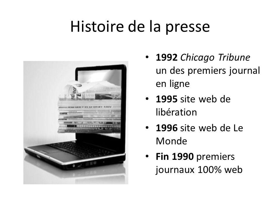 Histoire de la presse 1992 Chicago Tribune un des premiers journal en ligne. 1995 site web de libération.