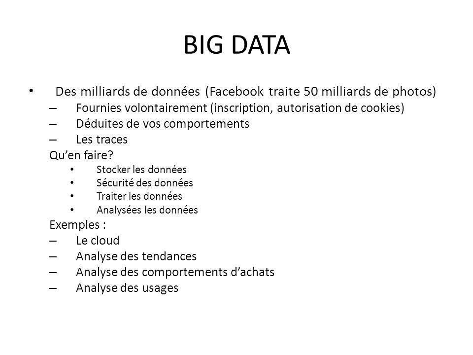 BIG DATA Des milliards de données (Facebook traite 50 milliards de photos) Fournies volontairement (inscription, autorisation de cookies)