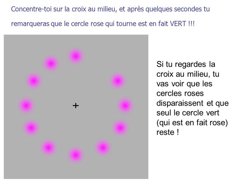 Concentre-toi sur la croix au milieu, et après quelques secondes tu remarqueras que le cercle rose qui tourne est en fait VERT !!!
