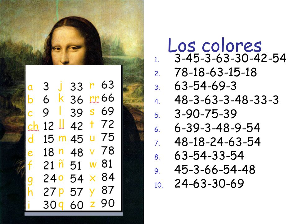 Los colores 3-45-3-63-30-42-54 78-18-63-15-18 63-54-69-3