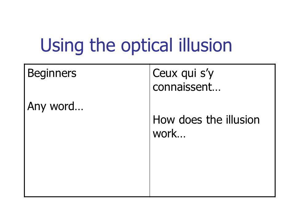 Using the optical illusion