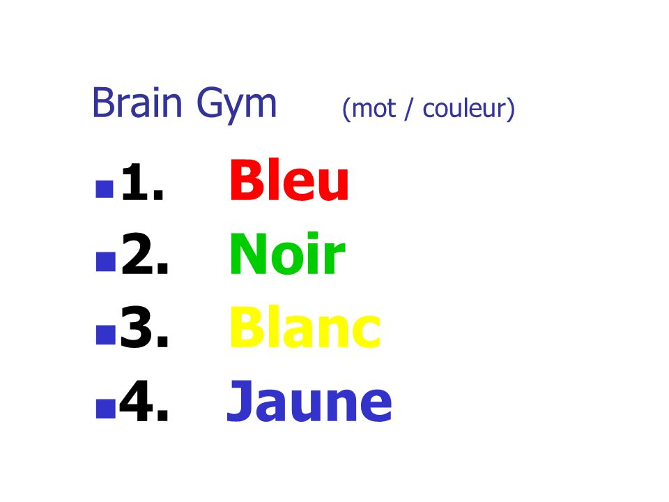 Brain Gym (mot / couleur)