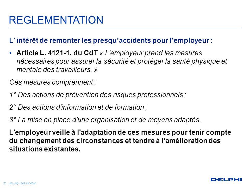 REGLEMENTATION L' intérêt de remonter les presqu'accidents pour l'employeur :
