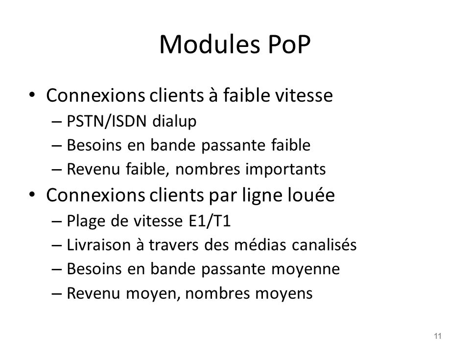 Modules PoP Connexions clients à faible vitesse