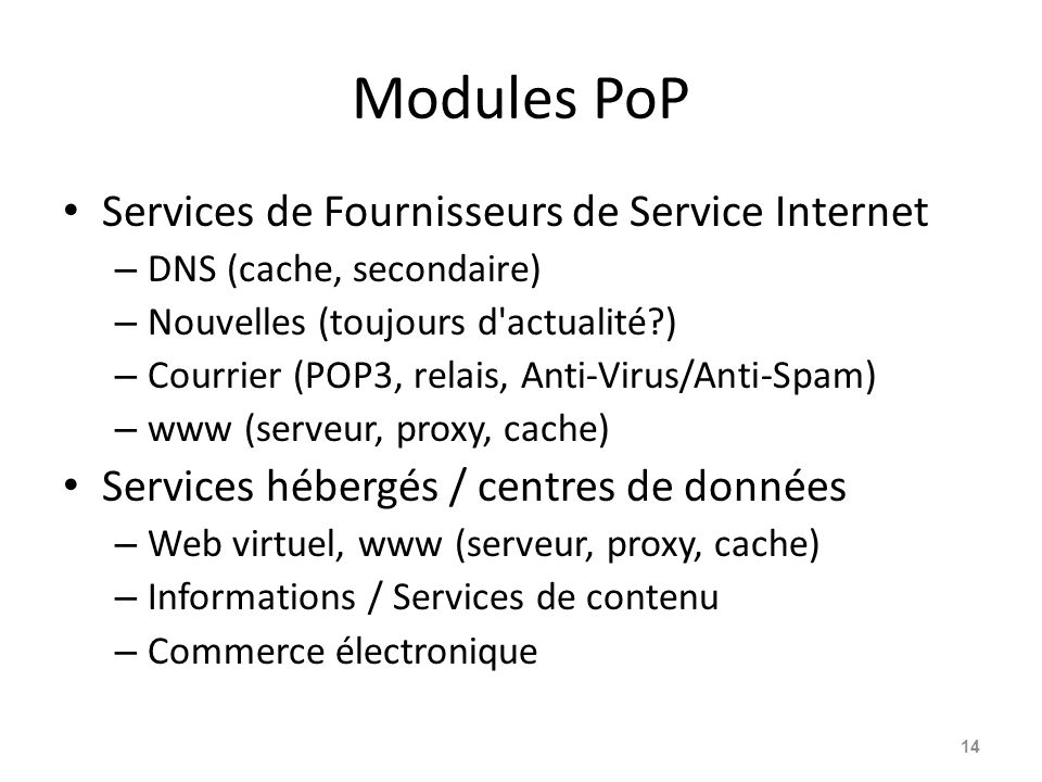 Modules PoP Services de Fournisseurs de Service Internet