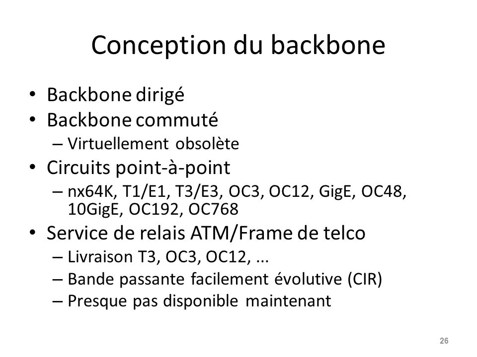 Conception du backbone