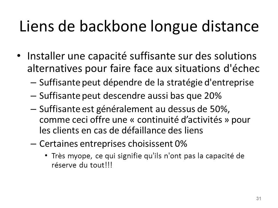 Liens de backbone longue distance