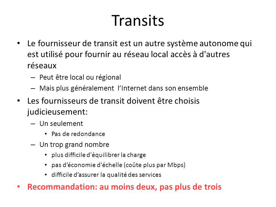 Transits Le fournisseur de transit est un autre système autonome qui est utilisé pour fournir au réseau local accès à d autres réseaux.