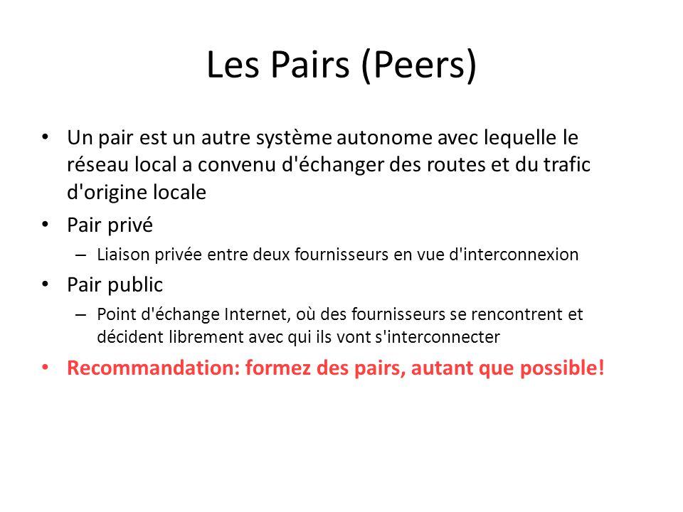 Les Pairs (Peers) Un pair est un autre système autonome avec lequelle le réseau local a convenu d échanger des routes et du trafic d origine locale.
