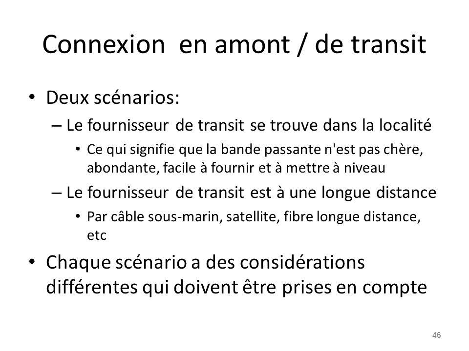 Connexion en amont / de transit