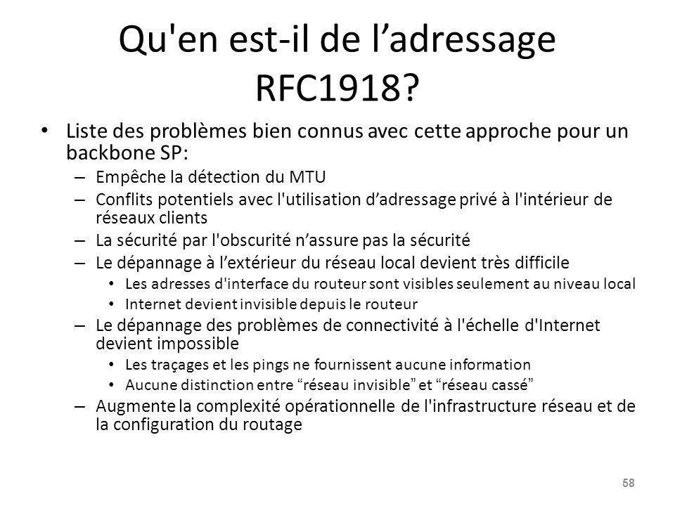 Qu en est-il de l'adressage RFC1918