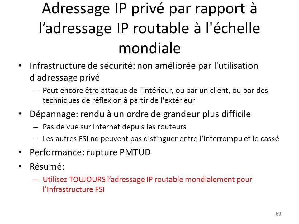 Adressage IP privé par rapport à l'adressage IP routable à l échelle mondiale