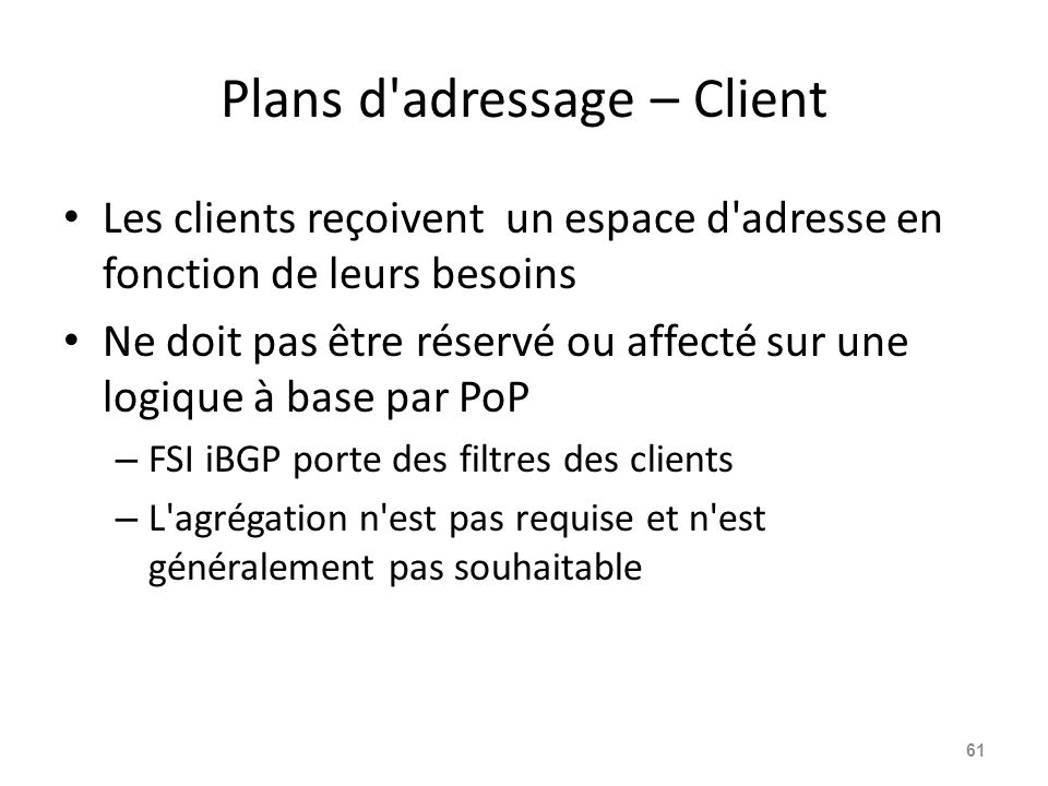 Plans d adressage – Client