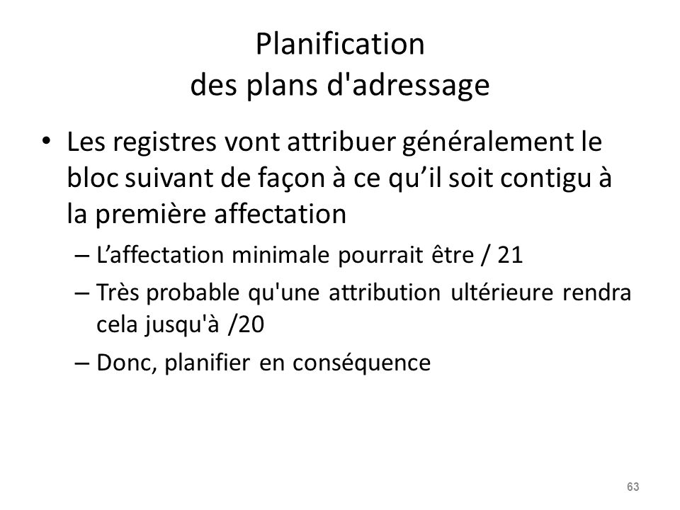 Planification des plans d adressage