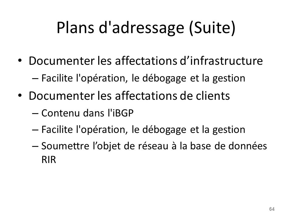 Plans d adressage (Suite)