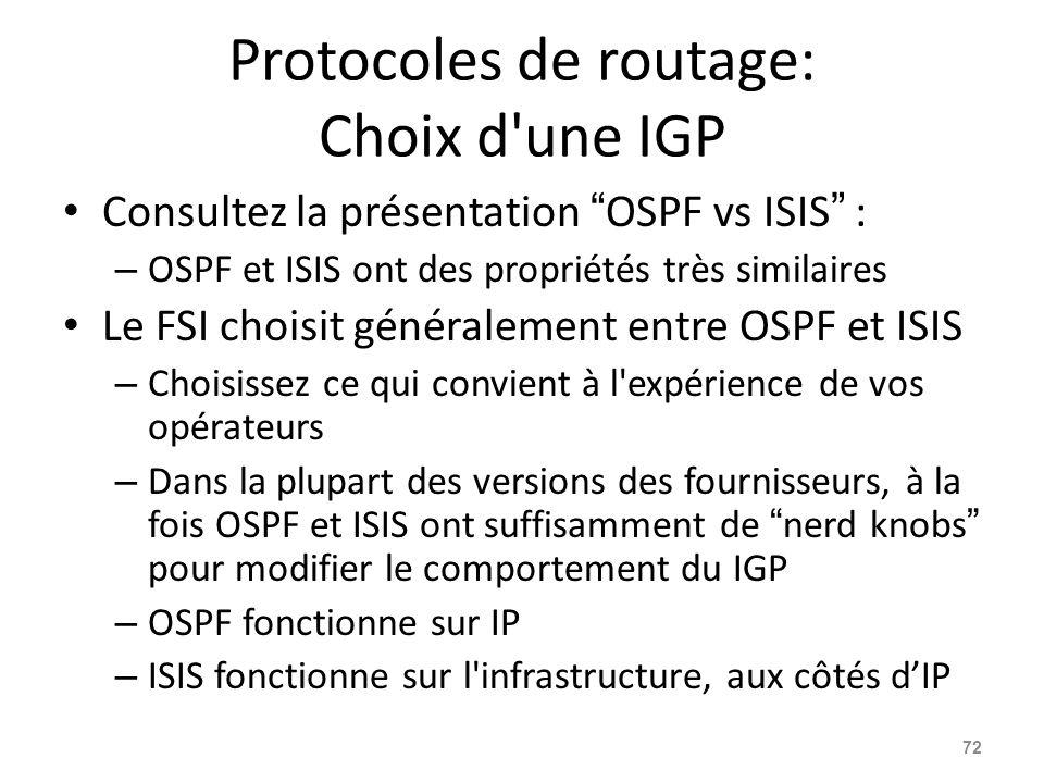Protocoles de routage: Choix d une IGP