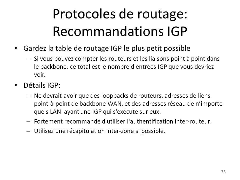 Protocoles de routage: Recommandations IGP
