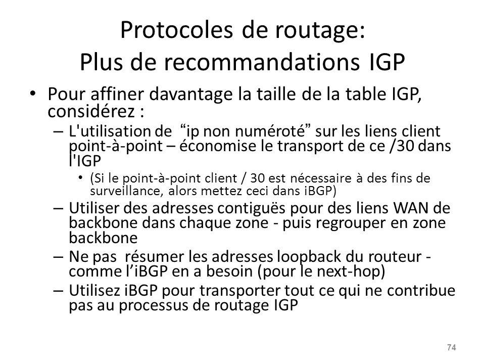 Protocoles de routage: Plus de recommandations IGP