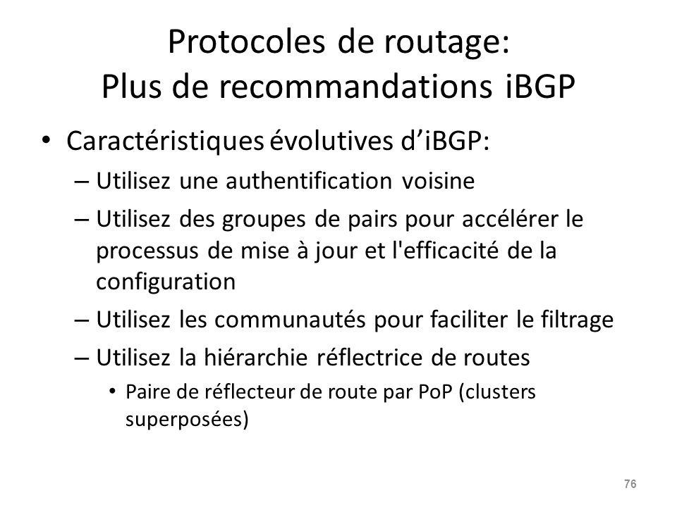 Protocoles de routage: Plus de recommandations iBGP