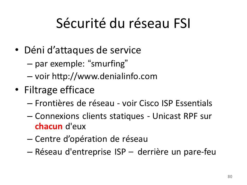 Sécurité du réseau FSI Déni d'attaques de service Filtrage efficace
