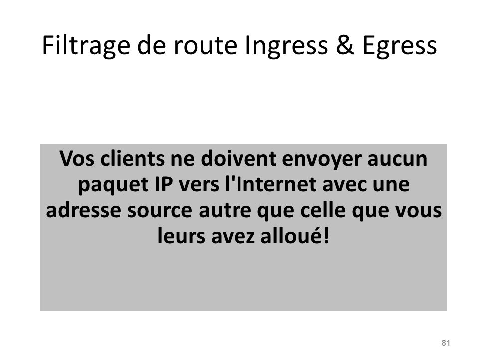Filtrage de route Ingress & Egress