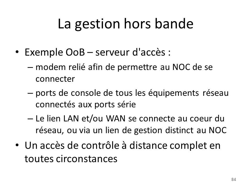 La gestion hors bande Exemple OoB – serveur d accès :