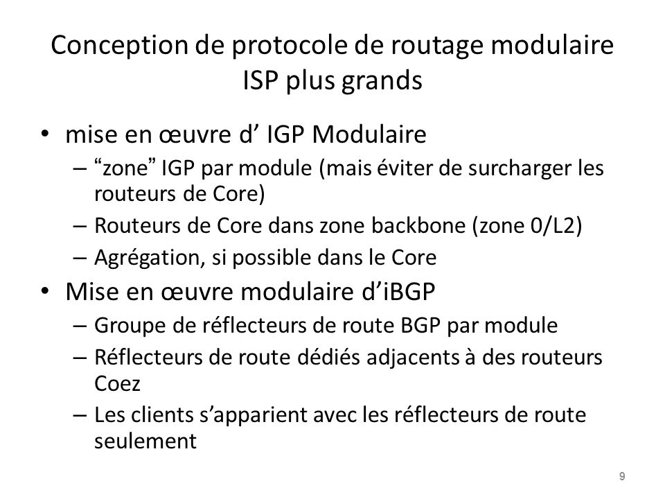 Conception de protocole de routage modulaire ISP plus grands