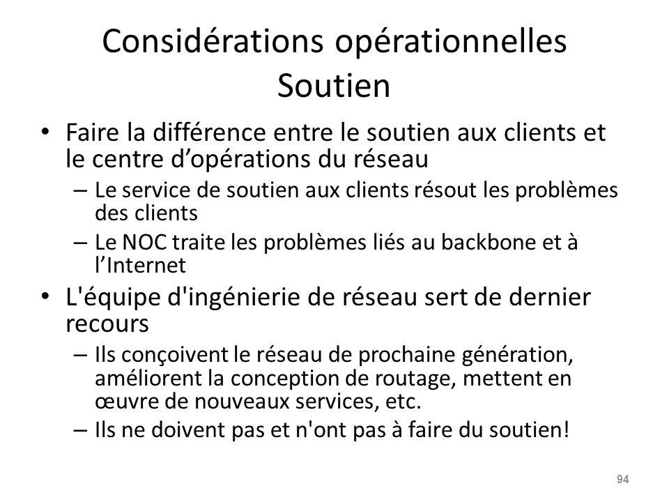 Considérations opérationnelles Soutien