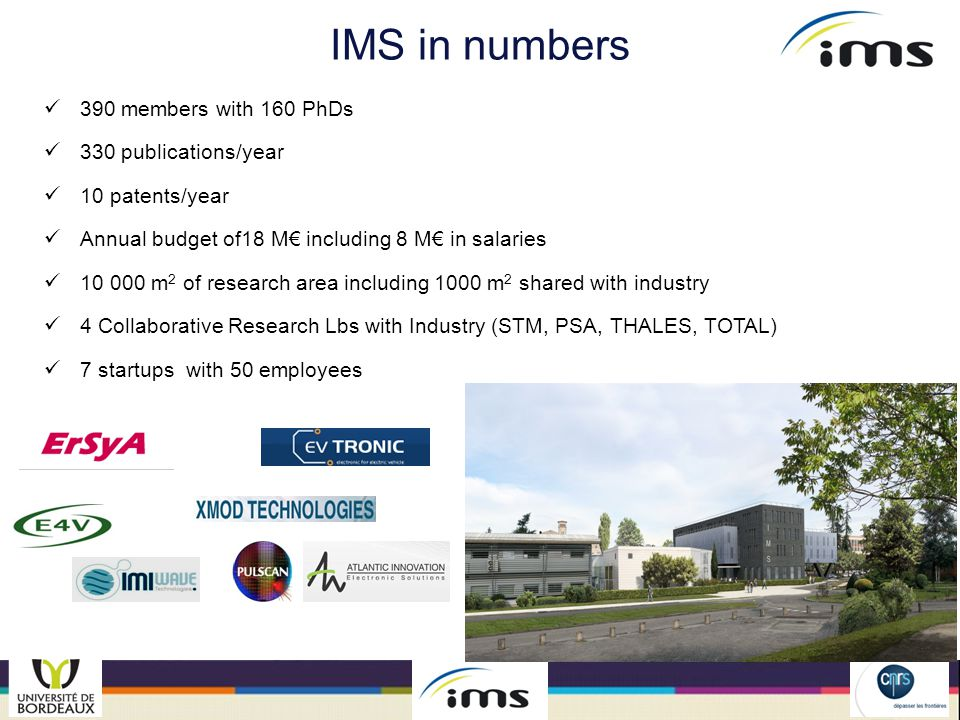 IMS in numbers 390 members with 160 PhDs 330 publications/year
