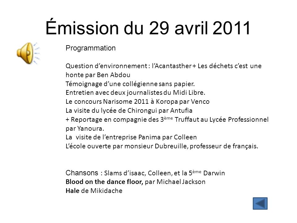 Émission du 29 avril 2011 Programmation