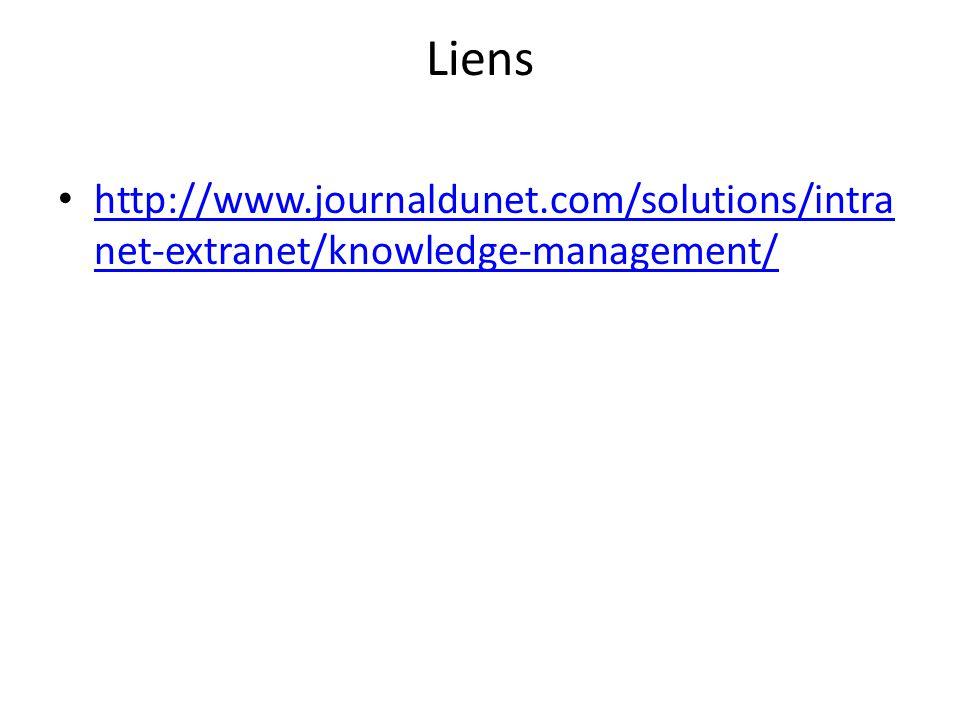 Liens http://www.journaldunet.com/solutions/intranet-extranet/knowledge-management/