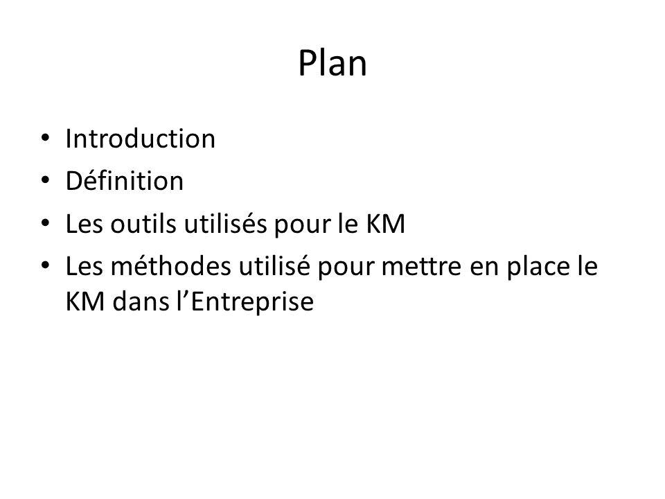 Plan Introduction Définition Les outils utilisés pour le KM