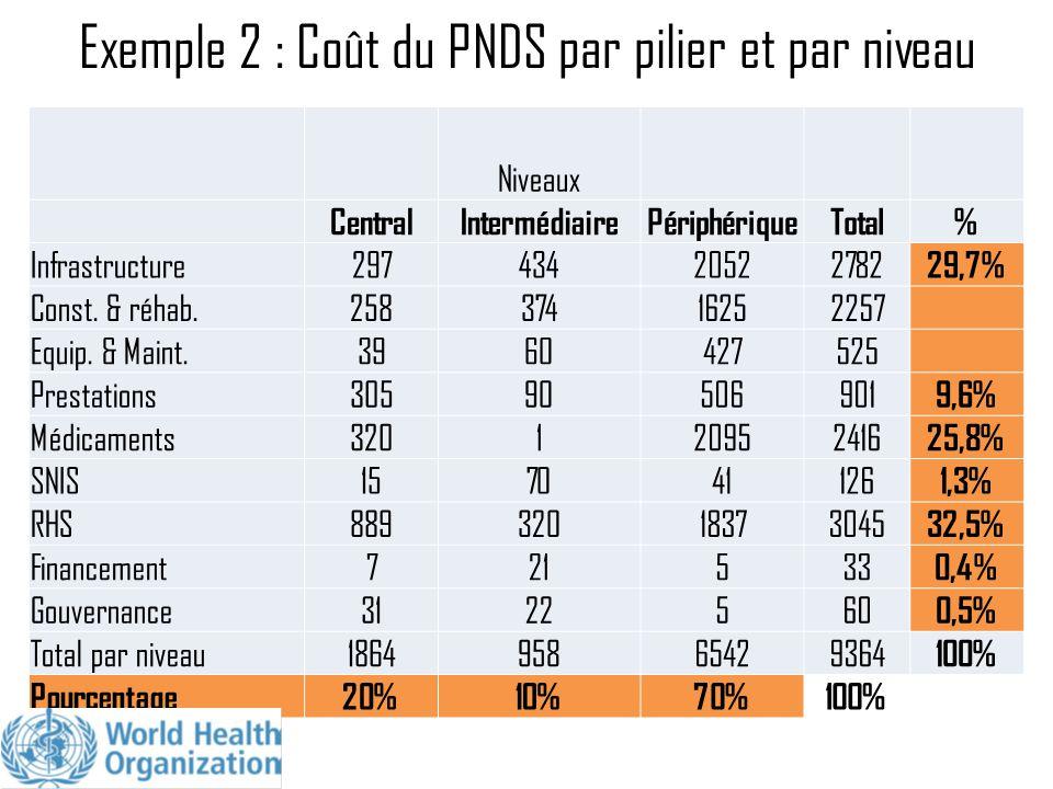 Exemple 2 : Coût du PNDS par pilier et par niveau
