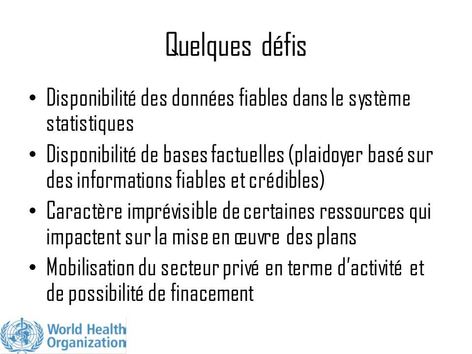 Quelques défis Disponibilité des données fiables dans le système statistiques.