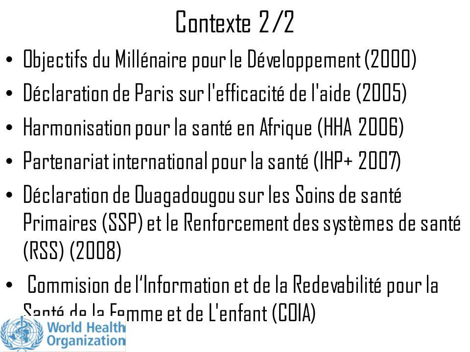 Contexte 2/2 Objectifs du Millénaire pour le Développement (2000)