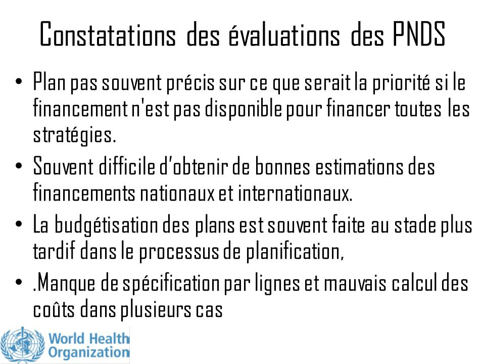 Constatations des évaluations des PNDS